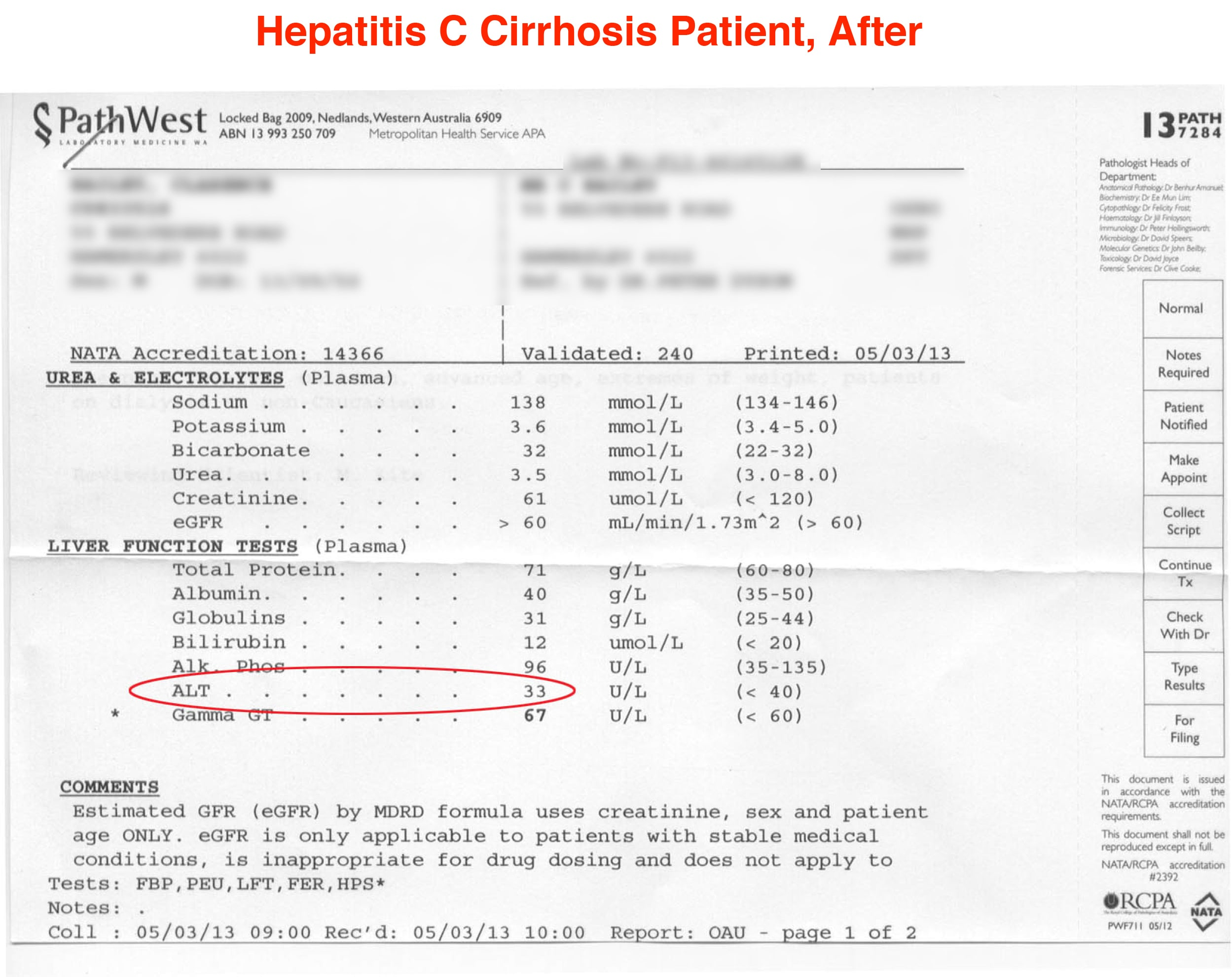 blood test report - After use YHK Liver Therapy